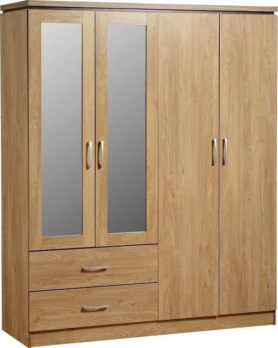 CHARLEY Oak Effect 4 Door 2 Drawer Wardrobe W154cm x D52.5cm x H190cm