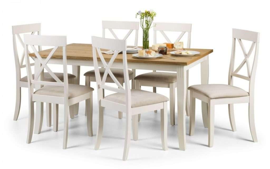 Devon Ivory & Oiled Oak Dining Table & 6 Chairs.L150cm x W90cm x H75cm.