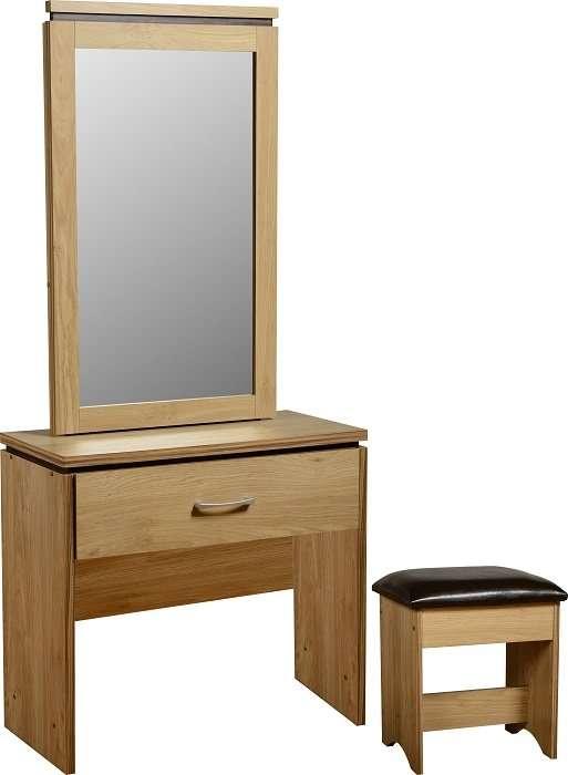 CHARLEY Oak Effect 1 Drawer Dressing Table, Mirror & Seat W80cm x D40cm x H175.5cm