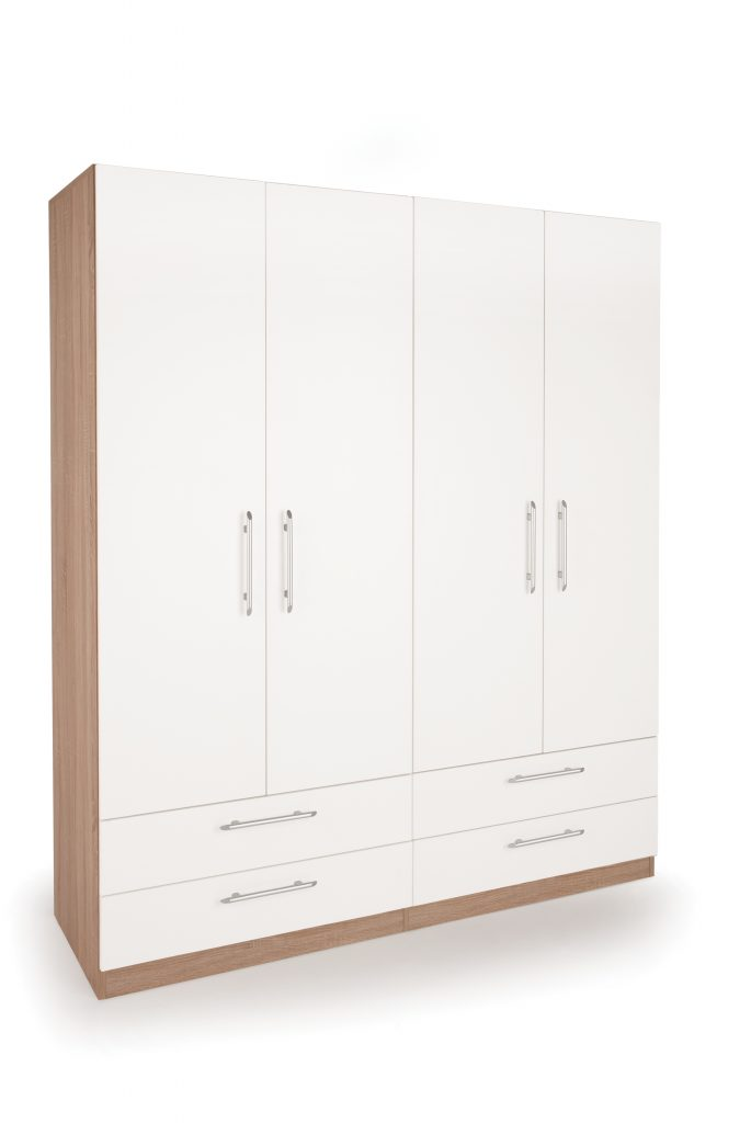 HEIDI Matt White 4 Door 4 Drawer Wardrobe W160cm x D52cm x H187cm