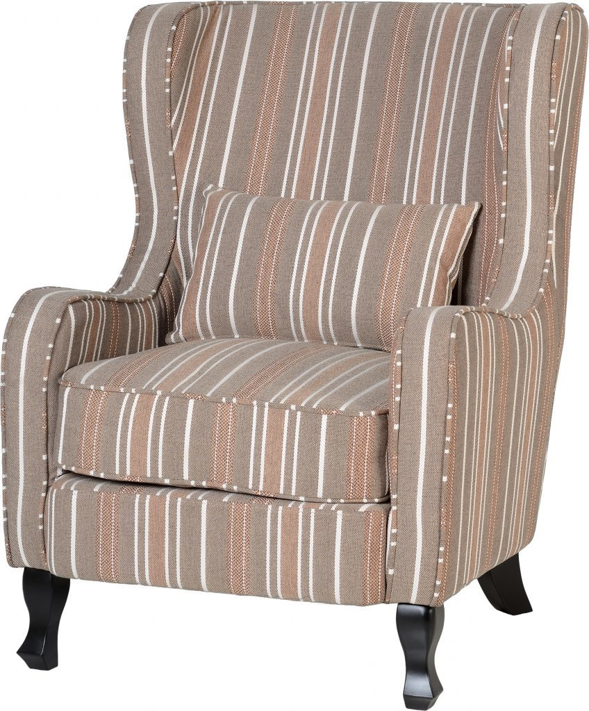 Sherry Beige Stripe Fireside Chair W77cm X D91cm X H102cm