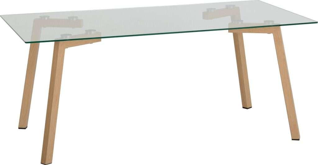 MORGAN Clear Glass & Oak Effect Coffee Table W110cm x D59.5cm x H45.5cm