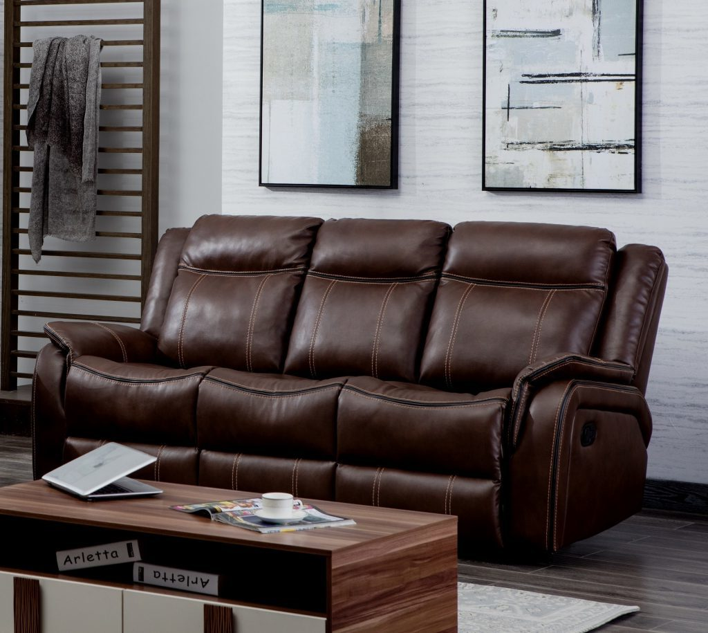 NEWBURY Brown Leather Gel 3 Seater Recliner Sofa
