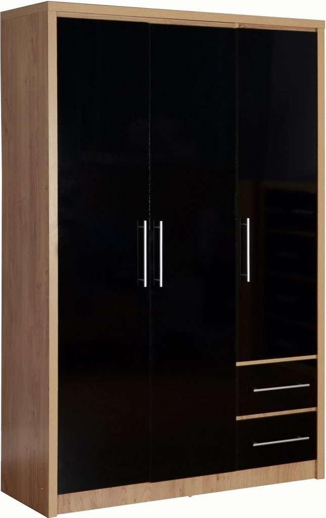 SYLVIA Oak & Black Effect 3 Door 2 Drawer Wardrobe W110cm x D47cm x H180cm