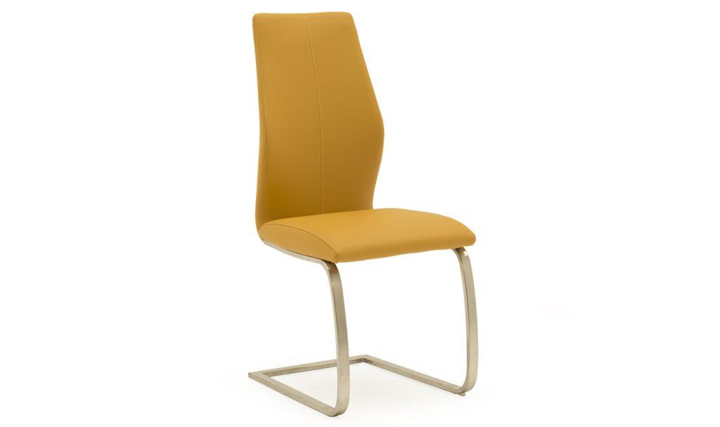 KLARA Pumpkin Orange Faux Leather / Brushed Steel Dining Chair (Price is Per Chair)