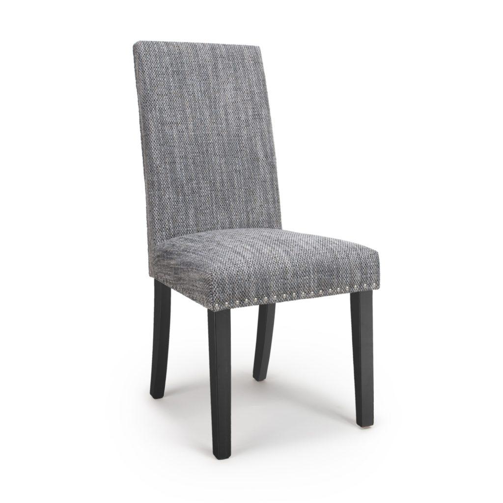 ROCCO Grey Tweed Stud Detail Black Legs Dining Chairs