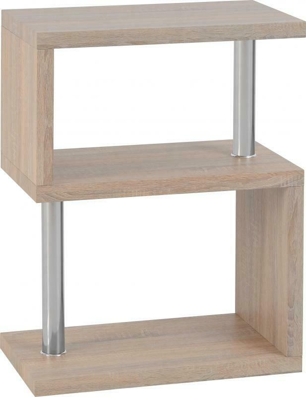 CHARM 3 Shelf Unit in Light Oak Effect/Chrome W60cm x D35cm x H79cm